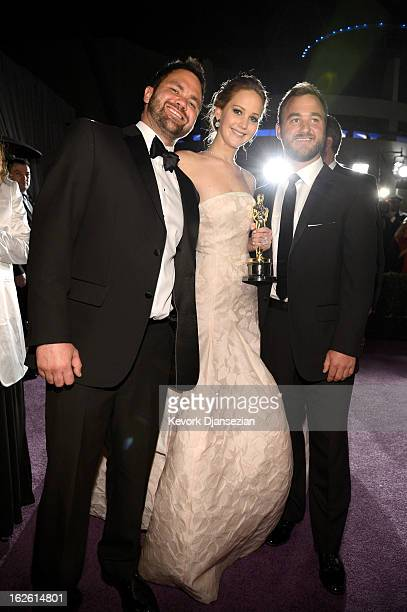 Jennifer Lawrence winner of Best Actress for her role in 'Silver Linings Playbook' and brothers Ben Lawrence and Blaine Lawrence attend the Oscars...