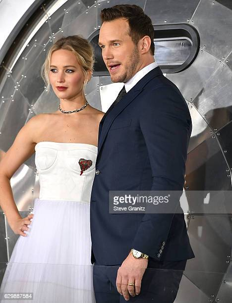 """Jennifer Lawrence;Chris Pratt arrives at the Premiere Of Columbia Pictures' """"Passengers"""" at Regency Village Theatre on December 14, 2016 in Westwood,..."""