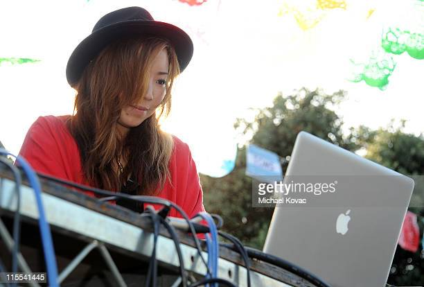 Jennifer Lee aka DJ TOKiMONSTA spins during the celebration of the new One For One TOMS eyewear product launch at the California Heritage Museum on...