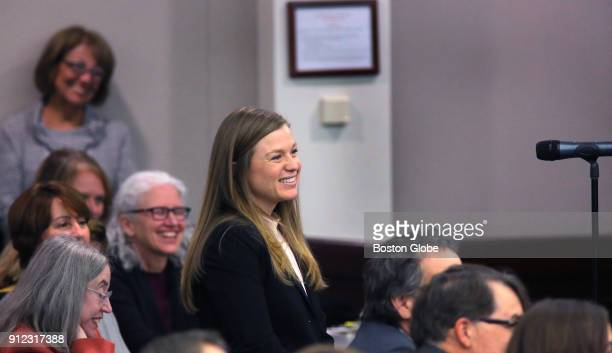Jennifer Lisi asks a question of United States Supreme Court Justice Ruth Bader Ginsburg during an event at Roger Williams University Law School in...