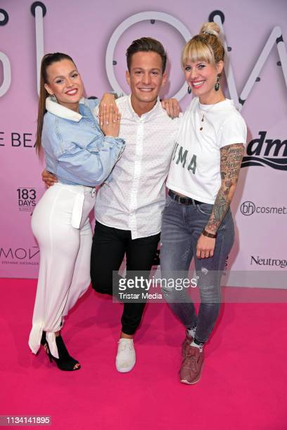 Jennifer Lopes, Stefan Jankovic and Pia Tillman of german RTL2 TV series 'Krass Schule' attend the 'GLOW - The Beauty Convention' on March 31, 2019...