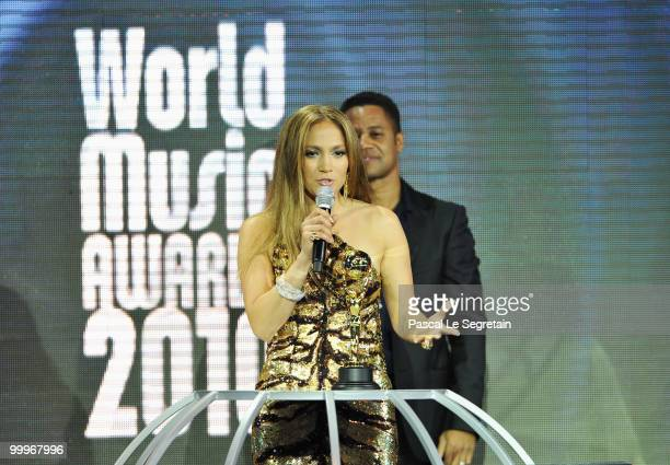 Jennifer Lopez accepts her award onstage during the World Music Awards 2010 at the Sporting Club on May 18, 2010 in Monte Carlo, Monaco.
