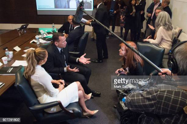 Jennifer Lopez Alex Rodriguez and Diana Olick attend 'Project Destined' Yankees Shark Tank Presentations at Yankee Stadium on March 4 2018 in New...