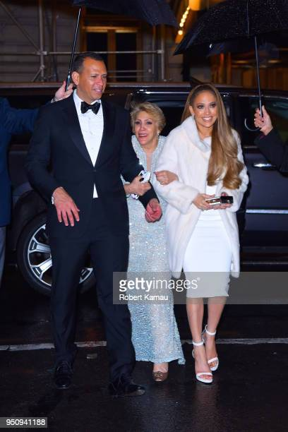 Jennifer Lopez Alex Rodriguez and mother Guadalupe are seen arriving to the Polo Bar after attending Time 100 Event in Manhatttan on April 24 2018 in...