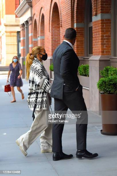 Jennifer Lopez and Alex Rodriguez are seen in Manhattan on September 8 2020 in New York City