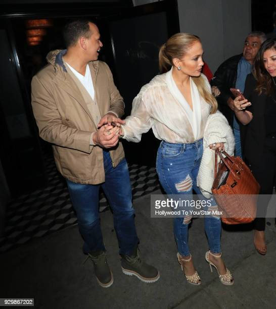 Jennifer Lopez and Alex Rodriguez are seen on March 8 2018 in Los Angeles California