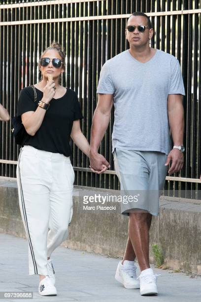 Jennifer Lopez and Alex Rodriguez are sighted near NotreDameDeParis cathedral on June 18 2017 in Paris France