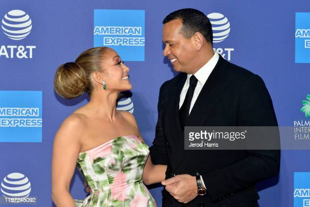 Jennifer Lopez and Alex Rodriguez arrive at the 2020 Annual Palm Springs International Film Festival Film Awards Gala on January 02 2020 in Palm...