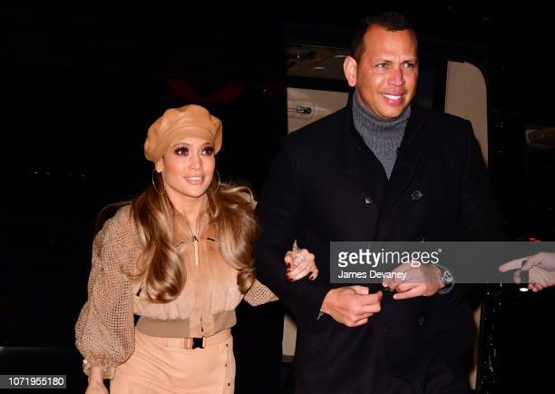 Jennifer Lopez and Alex Rodriguez arrive to AMC Bay Plaza Cinema 13 in the Bronx on December 11 2018 in New York City