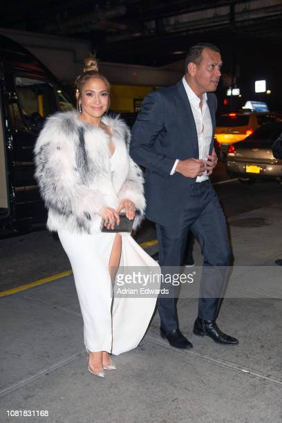 Jennifer Lopez and Alex Rodriguez at the party for the premiere of Second Act on December 12 2018 in New York City