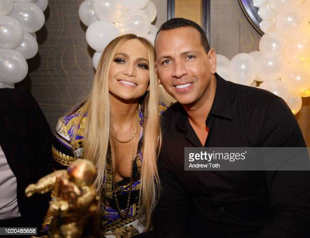Jennifer Lopez and Alex Rodriguez attend Jennifer Lopez's MTV VMA's Vanguard Award Celebration at Beauty & Essex on August 21, 2018 in New York City.