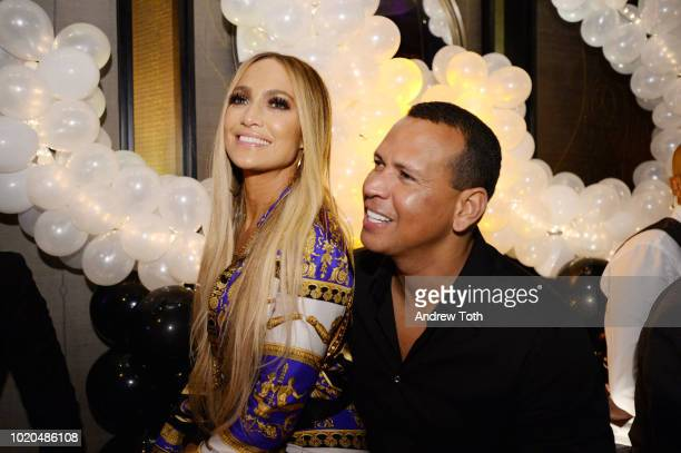 Jennifer Lopez and Alex Rodriguez attend Jennifer Lopez's MTV VMA's Vanguard Award Celebration at Beauty Essex on August 21 2018 in New York City