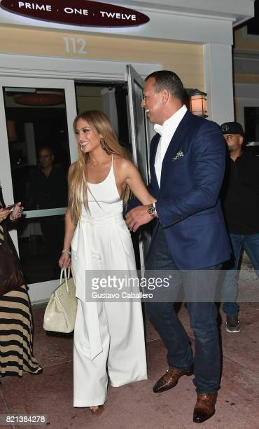 Jennifer Lopez and Alex Rodriguez attend Prime 112 Restaurant on July 23 2017 in Miami Florida