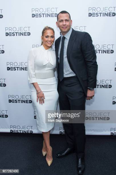 Jennifer Lopez and Alex Rodriguez attend 'Project Destined' Yankees Shark Tank Presentations at Yankee Stadium on March 4 2018 in New York City
