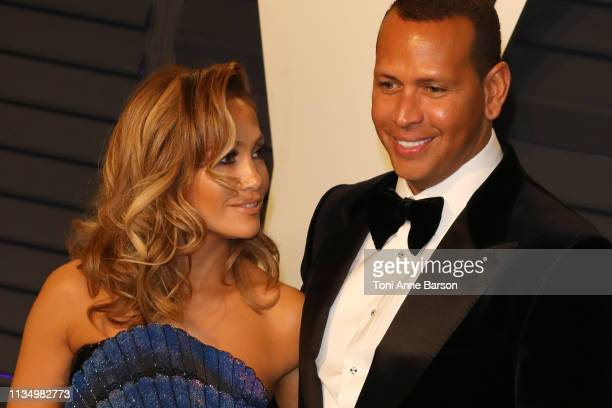 Jennifer Lopez and Alex Rodriguez attend the 2019 Vanity Fair Oscar Party hosted by Radhika Jones at Wallis Annenberg Center for the Performing Arts...