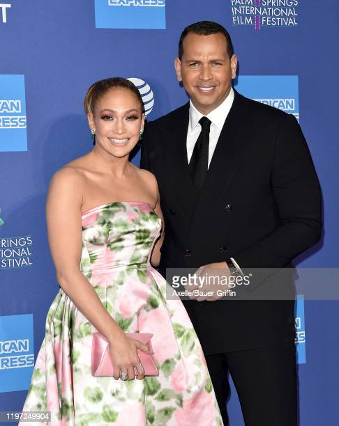 Jennifer Lopez and Alex Rodriguez attend the 2020 Annual Palm Springs International Film Festival Film Awards Gala on January 02 2020 in Palm Springs...