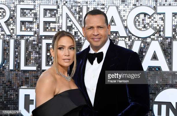 Jennifer Lopez and Alex Rodriguez attend the 26th Annual Screen Actors Guild Awards at The Shrine Auditorium on January 19, 2020 in Los Angeles,...