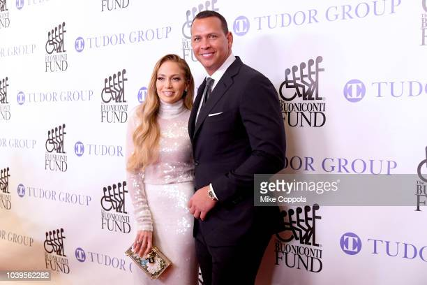 Jennifer Lopez and Alex Rodriguez attend the 33rd Annual Great Sports Legends Dinner, which raised millions of dollars for the Buoniconti Fund to...