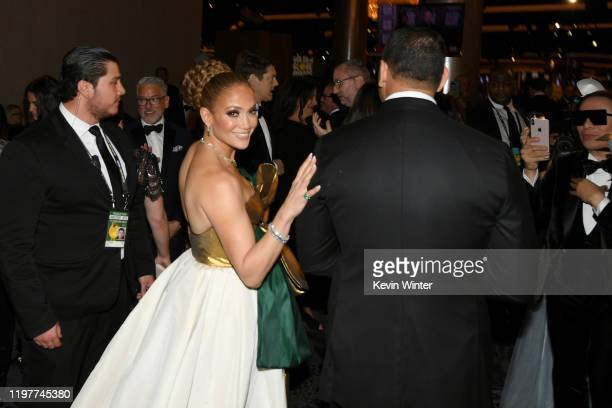 Jennifer Lopez and Alex Rodriguez attend the 77th Annual Golden Globe Awards Cocktail Reception at The Beverly Hilton Hotel on January 05 2020 in...