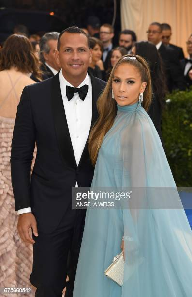 Jennifer Lopez and Alex Rodriguez attend the Costume Institute Benefit May 1 2017 at the Metropolitan Museum of Art in New York / AFP PHOTO / ANGELA...