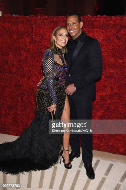 Jennifer Lopez and Alex Rodriguez attend the Heavenly Bodies Fashion The Catholic Imagination Costume Institute Gala at The Metropolitan Museum of...