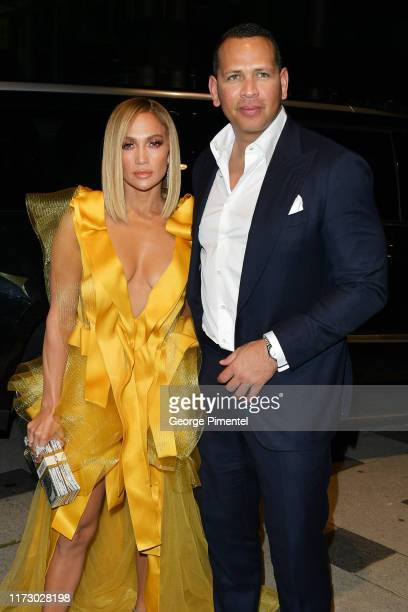 Jennifer Lopez and Alex Rodriguez attend the Hustlers premiere during the 2019 Toronto International Film Festival at Roy Thomson Hall on September...