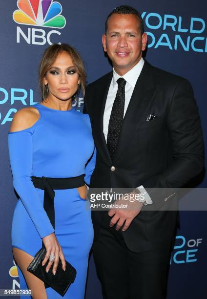 Jennifer Lopez and Alex Rodriguez attend the 'World of Dance Celebration' in Los Angeles California on September 19 2017 / AFP PHOTO / JEANBAPTISTE...
