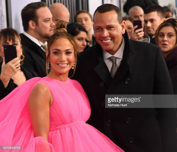 Jennifer Lopez and Alex Rodriguez attend the world premiere of Second Act at Regal Union Square Theatre Stadium 14 on December 12 2018 in New York...