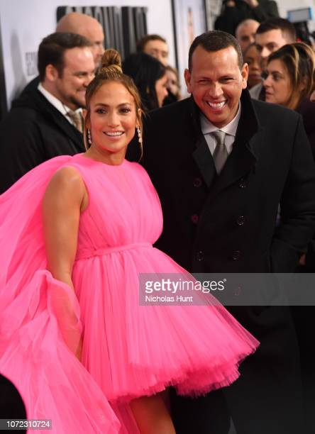 Jennifer Lopez and Alex Rodriguez attend the world premiere of 'Second Act' at Regal Union Square Theatre Stadium 14 on December 12 2018 in New York...