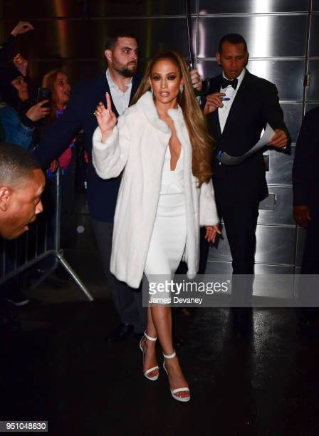 Jennifer Lopez and Alex Rodriguez leave the 2018 Time 100 Gala at Jazz at Lincoln Center on April 24 2018 in New York City
