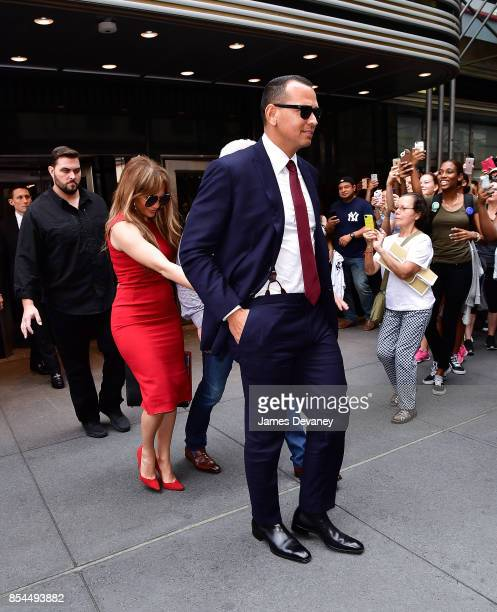 Jennifer Lopez and Alex Rodriguez leave the Empire State Building on September 26 2017 in New York City