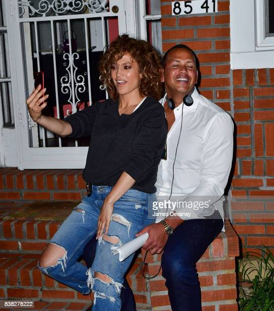 Jennifer Lopez and Alex Rodriguez seen on location for 'Shades of Blue' in Queens on August 23 2017 in New York City