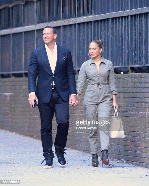 Jennifer Lopez and Alex Rodriguez seen out and about together in Manhattan on August 25 2017 in New York City