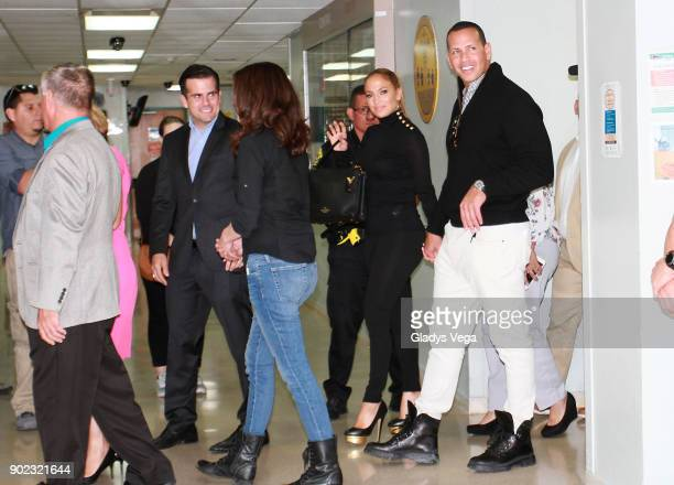 Jennifer Lopez and Alex Rodriguez visit Puerto Rico to announce the donation of 2 million dollars to various Primary Health Centers of Puerto Rico at...