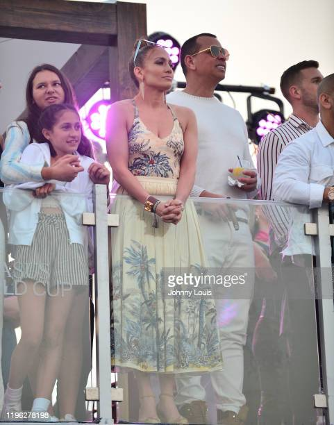 Jennifer Lopez and Alex Rodriguez with children Emme Maribel Muñiz and Natasha Alexander Rodriguez at the 2020 Pegasus World Cup Championship...