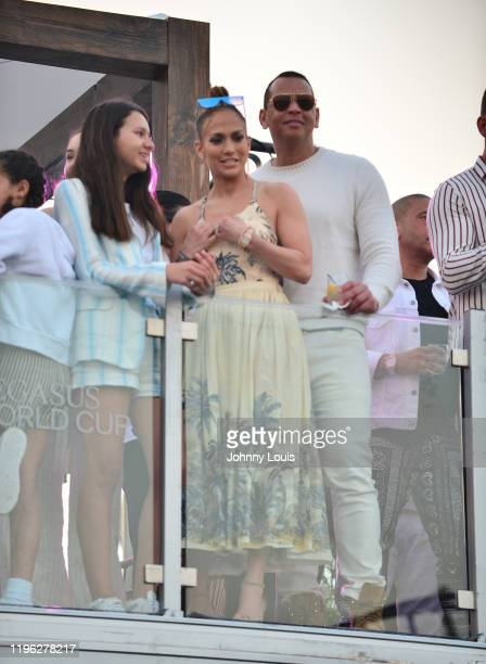 Jennifer Lopez and Alex Rodriguez with children Emme Maribel Muñiz and Natasha Alexander Rodriguez at the 2020 Pegasus World Cup Championship...