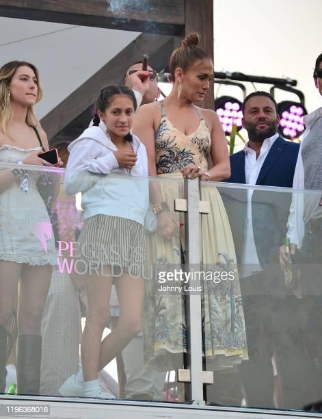 Jennifer Lopez and Alex Rodriguez with children Emme Maribel Muñiz at the 2020 Pegasus World Cup Championship Invitational Series at David Grutman's...