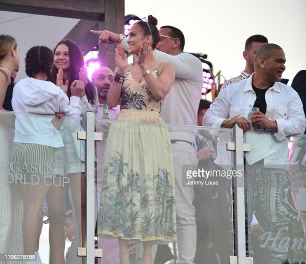 Jennifer Lopez and Alex Rodriguez with children Emme Maribel Muñiz Natasha Alexander Rodriguez at the 2020 Pegasus World Cup Championship...