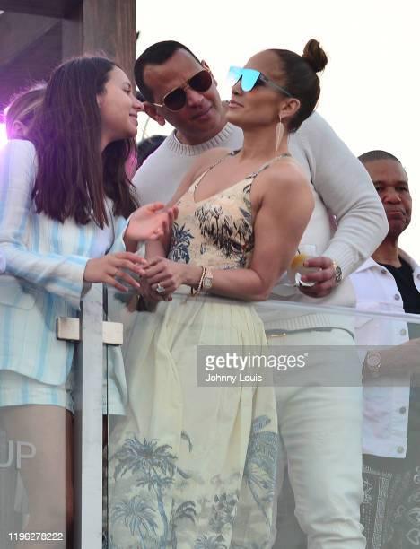 Jennifer Lopez and Alex Rodriguez with Natasha Alexander Rodriguez at the 2020 Pegasus World Cup Championship Invitational Series at David Grutman's...