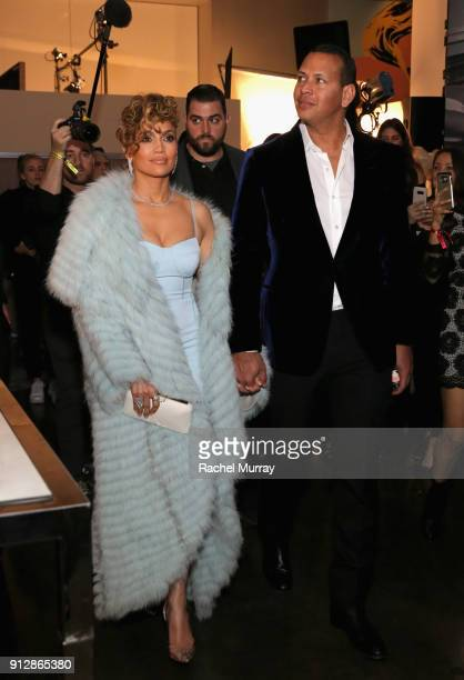 Jennifer Lopez and Alex Rodriquez at the Guess Spring 2018 Campaign Reveal starring Jennifer Lopez on January 31 2018 in Los Angeles California