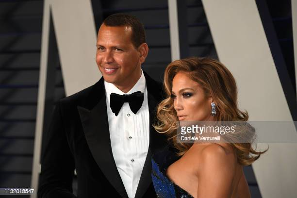 Jennifer Lopez and Alexander Rodriguez attend 2019 Vanity Fair Oscar Party Hosted By Radhika Jones at Wallis Annenberg Center for the Performing Arts...