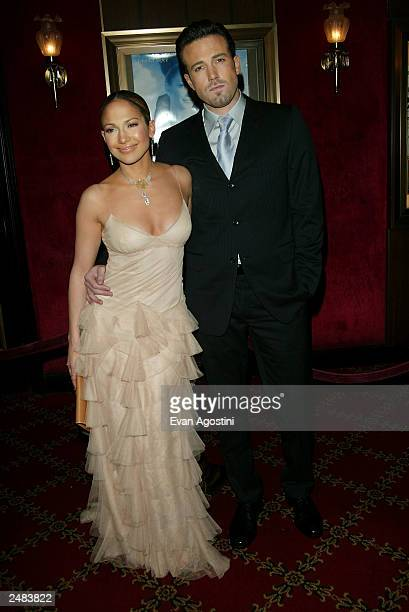 Jennifer Lopez and Ben Affleck arriving at the Maid In Manhattan world premiere at The Ziegfeld Theatre New York City December 8 2002 Lopez and...