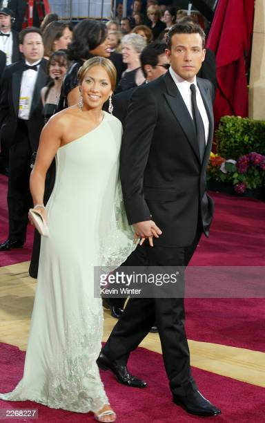 Jennifer Lopez and Ben Affleck attend the 75th Annual Academy Awards at the Kodak Theater on March 23 2003 in Hollywood California