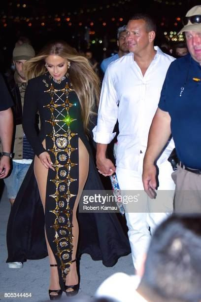 Jennifer Lopez and boyfriend Alex Rodriguez seen leaving the Hunter's Point South Park after performing for a Macy's Fourth Of July Fireworks...