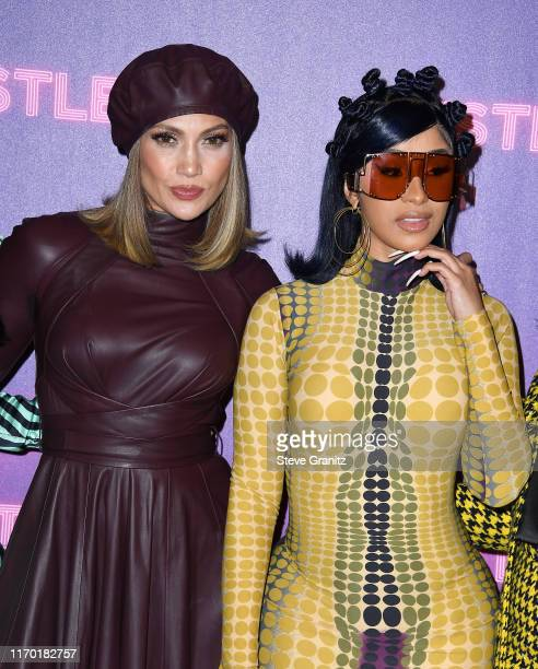 """Jennifer Lopez and Cardi B attend STX Entertainment's """"Hustlers"""" Photo Call at Four Seasons Los Angeles at Beverly Hills on August 25, 2019 in Los..."""