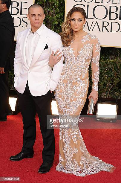 Jennifer Lopez and Casper Smart arrives at the 70th Annual Golden Globe Awards at The Beverly Hilton Hotel on January 13 2013 in Beverly Hills...