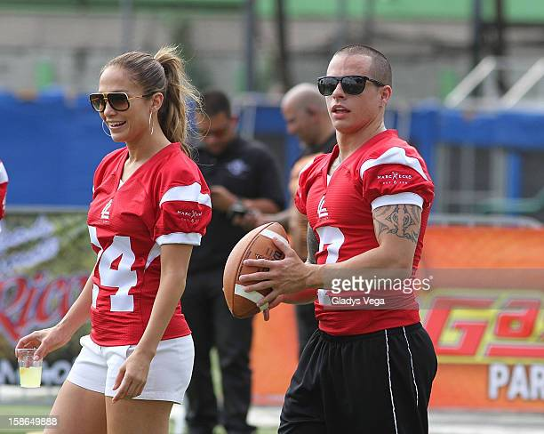Jennifer Lopez and Casper Smart attend the Pre-Concert Celebrity Football Game Benefiting Hurricane Sandy Relief at Hiram Bithorn Stadium on December...