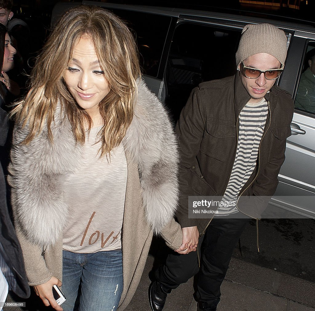Jennifer Lopez and Casper Smart sighting at the Dorchester Hotel, Park Lane on May 28, 2013 in London, England.
