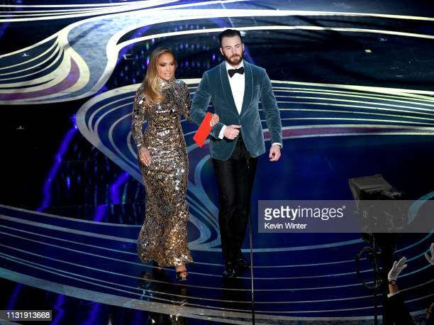 Jennifer Lopez and Chris Evans speak onstage during the 91st Annual Academy Awards at Dolby Theatre on February 24 2019 in Hollywood California
