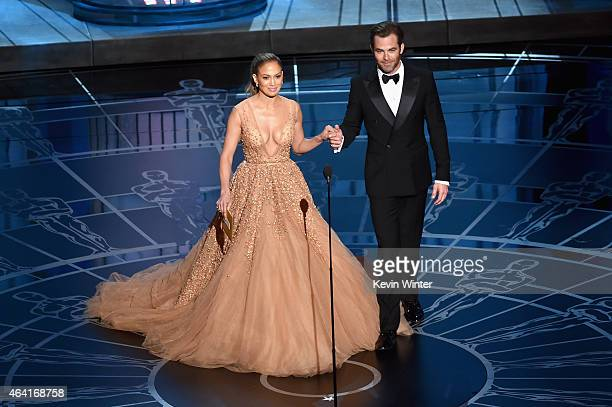 Jennifer Lopez and Chris Pine present onstage during the 87th Annual Academy Awards at Dolby Theatre on February 22 2015 in Hollywood California